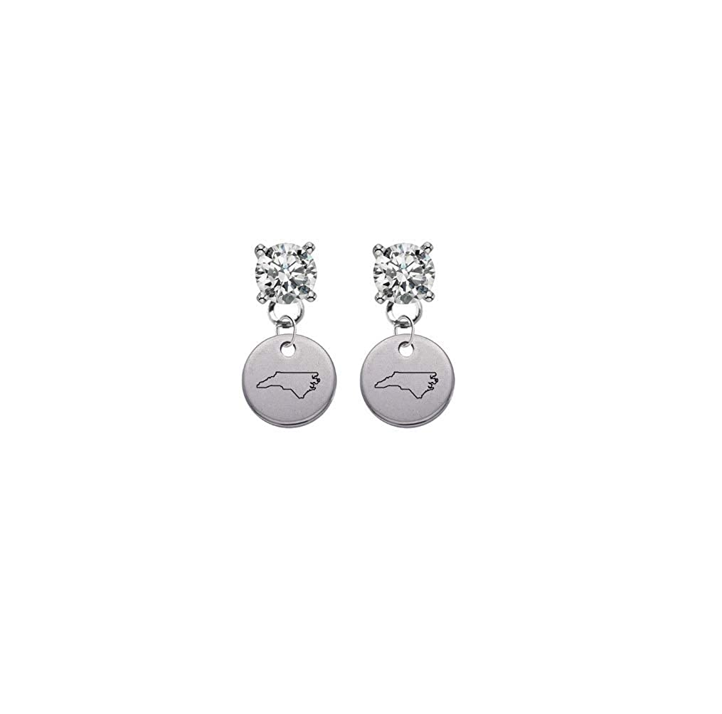North Carolina State Silhouette Clear Crystal Stud Post Dangle Earrings