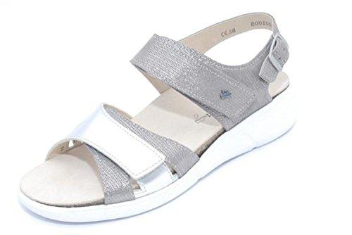 Finn Comfort 03351-901741 - Sandalias de Vestir Para Mujer Gris Gris Plateado