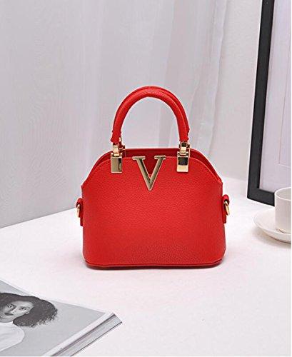 LXYIUN Bolso De Mujer,Cuero De PU Bolso del Remache Multifunción Moda Paquete De Fiesta Pequeña,Red Red