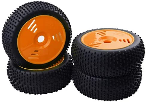 1:8RCカー ゴムタイヤ ホイールリム ホイールハブ RCバギー スペアパーツ 4個入り 全2カラー - オレンジ