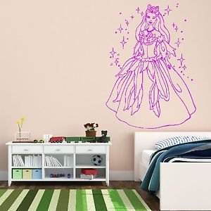 Iconic Stickers   Barbie Disney Fairy Princess Wall Sticker / Mural Decal  Girls Bedroom Design K21 Part 93