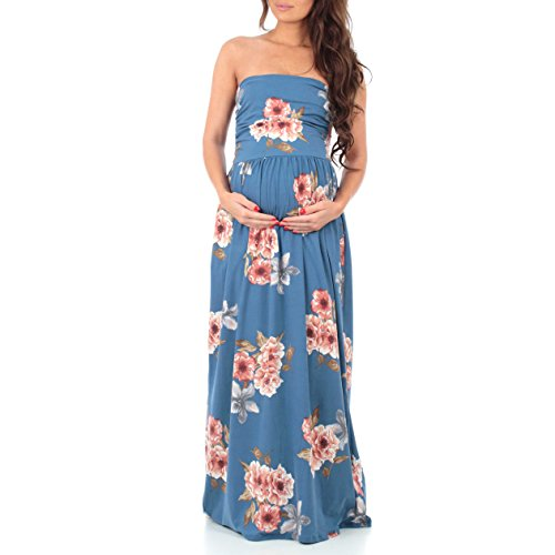 Women's Strapless Ruched Maxi Tube Maternity Dress with Pockets by Mother Bee – Made in USA (Small, Floral Blue Blush)