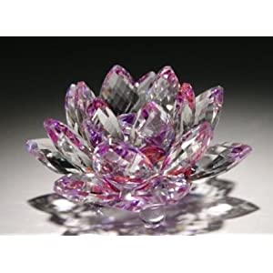 4'' Purple Color Delicate Decorative Crystal Lotus Flower 96