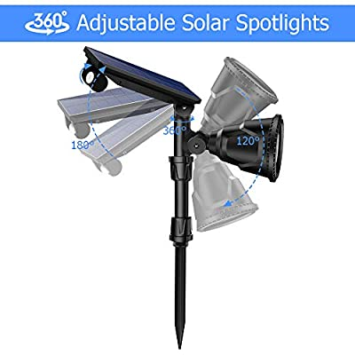 ROSHWEY Solar Spot Lights Outdoor, Super Bright Landscape Light 18 LED Waterproof Wall Lamps with Motion Sensor & 4 Modes for Garden Patio Garage Driveway