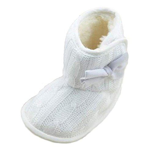 Zapatos de Bebé,Xinantime Bowknot Suave Invierno Zapatos Calientes Botas (18, Blanco) Blanco