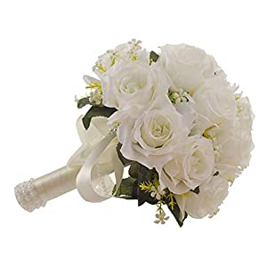 ROZKITCH Wedding Bridal Bouquet, White Roseswith Lace Pearl Long Ribbon, Artificial Fake Flowers, Perfect for Wedding, Church 107