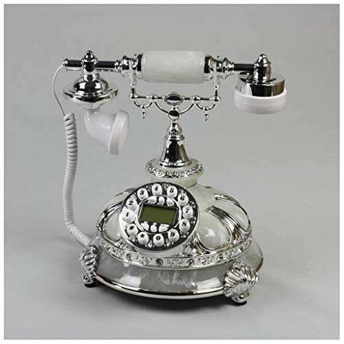SMC Landline Home Fixed Retro Old Telephone Creative Old Fashion Resin Metal European Telephone (Color : White) from SMC Telephone