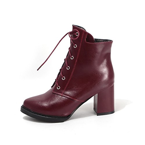 Chunky Imitated Bandage Heels A amp;N Boots Winkle Red Leather Pinker Girls w6PnPTXqA