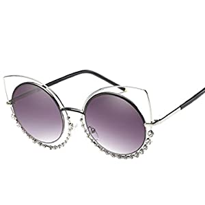 MAIDIEN Retro Women Diamond Cat Eye Sunglasses C