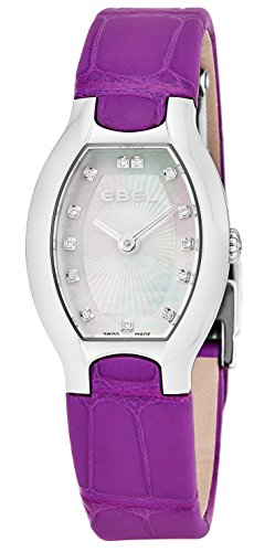 Ebel Beluga Tonneau Womens Mother-of-Pearl Face Diamond Purple Leather Strap Swiss Quartz Watch 1216245