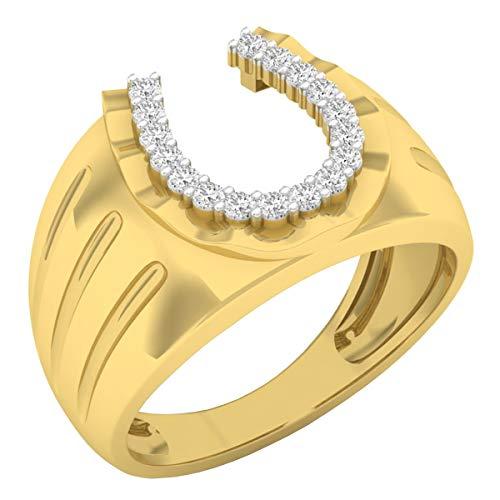 0.25 Carat (ctw) 10K Round White Diamond Men's Fashion Horseshoe Ring 1/4 CT, Yellow Gold, Size 11.5
