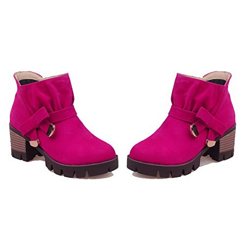 AllhqFashion Womens Low-Top Pull-On Frosted Kitten-Heels Round Closed Toe Boots Rosered 6mzfaHmc