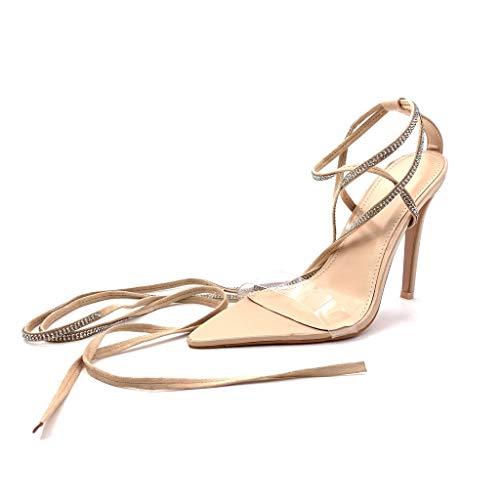 Haut Chaussure 11 Plastique Angkorly Talon Strass Cm Mode Femme Sandale Transparent Beige Aiguille Diamant Escarpin Stiletto Sexy Ouverte 4dgWqORBgA