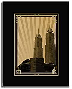 Al Kazim Towers Metro - Sepia With Gold Border No Text F04-nm (a5) - Framed