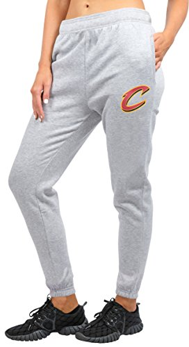 (NBA Cleveland Cavaliers Women's Jogger Pants Active Logo Fleece Sweatpants, Small, Gray )
