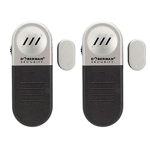 Doberman Security Entry Defence Alarm - 2 Pack Security Alarm, Black/Silver (SE-0109-2PK) by Doberman Security