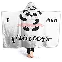 "GULTMEE 50""x40"" Hooded Blanket Hood Cloak Cape Wearable Cuddle Super Soft Sherpa Fleece 3D Blanket, Funny Ballerina Panda Bear Dancing in Pink Skirt Baby Kids"
