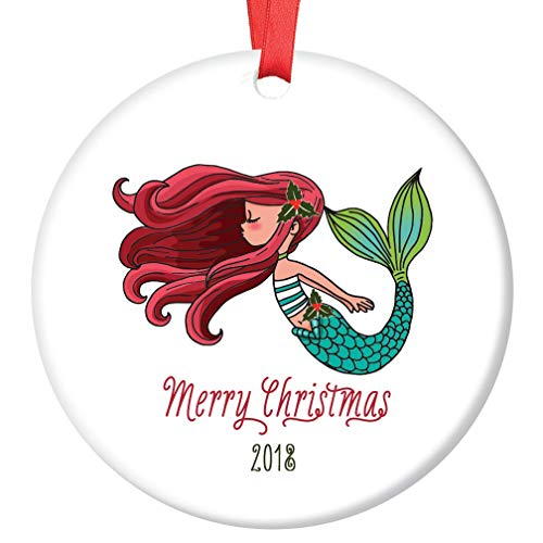 Merry Christmas Mermaid Ornament 2018 Redhead Little Girl Adorable Ginger Female Ocean Fish Porcelain Keepsake Present Daughter Grandchild Niece 3