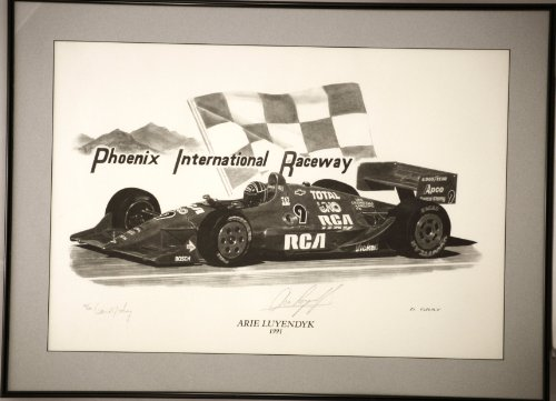 1991 - Custom Black Metal Frame - Phoenix International Raceway - Numbered Litho Signed by Artist - Arie Luyendyk Indy Car - #15 of 500 - Very Rare - - Luyendyk Indy