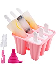 Popsicle Molds, 6 Pieces Silicone Ice Pop Molds BPA Free Popsicle Mold Reusable Easy Release Ice Pop Maker with Silicone Funnel and Cleaning Brush