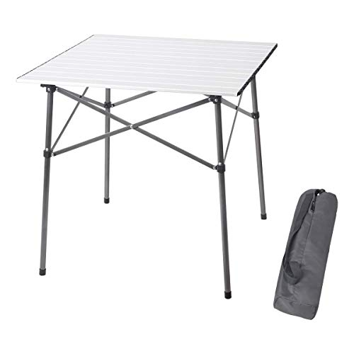 - PORTAL Lightweight Aluminum Folding Square Table Roll Up Top 4 People Compact Table with Carry Bag For Camping, Picnic, Backyards, BBQ