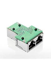 Adaptador divisor RJ45 de 1 a 2 puertos hembra CAT 5 CAT 6 Ethernet conector divisor, negro, 2 paquetes