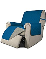 Easy-Going Recliner Sofa Slipcover Reversible Sofa Cover Furniture Protector Couch Shield Water Resistant with Elastic Straps for Pets Kids Children Dog Cat (Recliner,Peacock Blue/Beige)