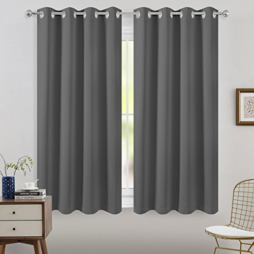 Cheap FLOWEROOM Blackout Curtains Thermal Insulated Draperies With Grommet for Nursery Room, Grey, 52 x 63 inch, 2 Panels