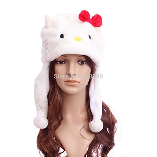 [White Kitty Aviator Plush Hat] (Adult Aviator Hat)