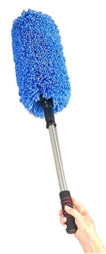 Microfiber Car Duster By Drought Buster Clean Car Quickly W/o Water. Streak, Scratch, Lint Free. Long Unbreakable Stainless Steel Extendable Handle. Lift Car, Household Dust Now (Blue)