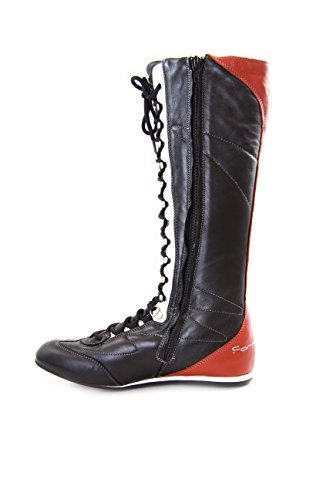 Zipper Boots Negro Leather PIFLI3743WC Strings and with Fornarina Vintage High w0vFt