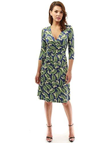 PattyBoutik Women Faux Wrap A Line Dress (Navy Blue and Green 21 Medium)