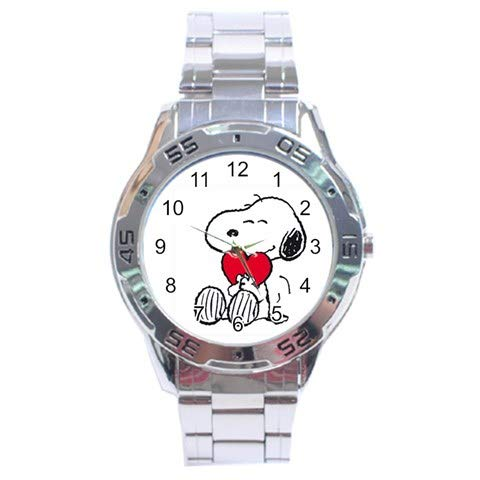 (Snoopy The Peanuts Heart Love Stainless Steel Analog Men's Watch For Men Women)