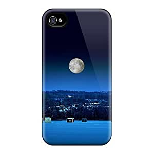 For Iphone 4/4s Protector Case Ice Fishing At Night Phone Cover