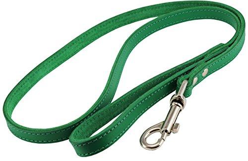Dogs My Love Genuine Leather Dog Leash 4-Feet Wide Green (Medium: 1/2