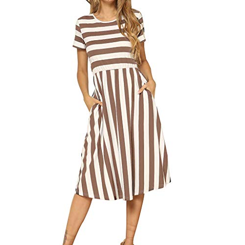 【MOHOLL】 Women's Short Sleeve Striped Casual Flowy Midi Belt Dress with Pockets Coffee