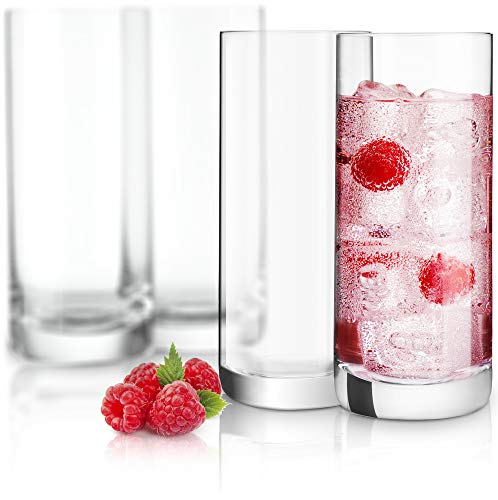 Crystal Drinking Glass - JoyJolt Stella Lead Free Crystal Highball Glass 14.2-Ounce Barware Collins Tumbler Drinking Glasses For Water, Juice, Beer, And Cocktail Set Of 4