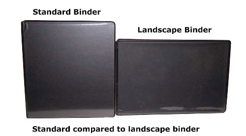 """1"""" Heavy Duty Landscape Binder - Black vinyl - Holds text in horizontal format - Overlay inserts for the front, spine and back with inside pockets - Great for engineering drawings, city planning, by LandscapeBinder-com (Image #5)"""