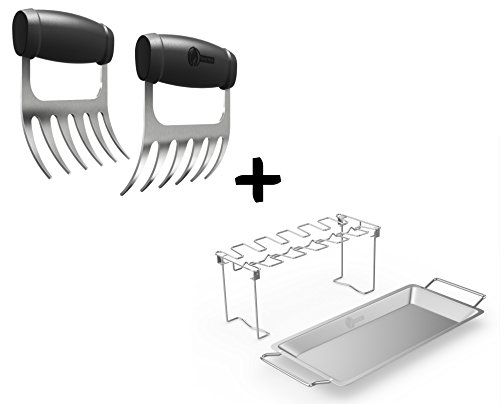 Meat Claws - STAINLESS STEEL PULLED PORK SHREDDERS + Chicken Wing & Leg Rack For Grill Smoker or Oven - Vertical Roaster Stand & Drip Pan For Cooking Vegetables - Dishwasher Safe BBQ Tools (Jalapeno Beer)