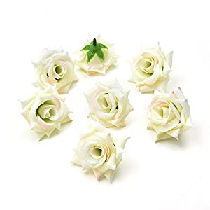 Silk Flowers Fake Flowers 20pcs 5cm Artificial Rose Flower Heads Silk Flowers for Home DIY Wedding Decoration Fake Flowers (White Pink) 19