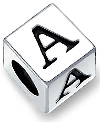 Block Letter A Alphabet Initial Charm Bead For Women For Teen 925 Sterling Silver For European Bracelet (Abc Charm Blocks)