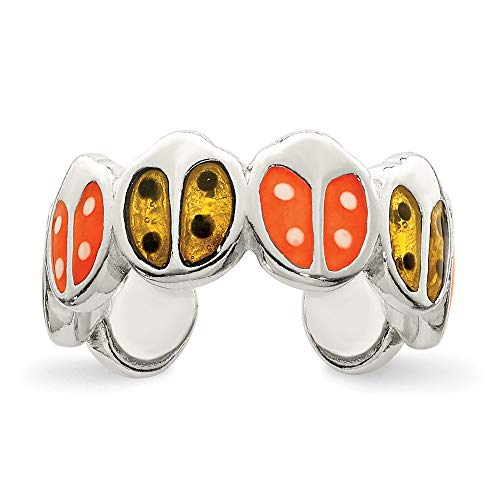 Solid 925 Sterling Silver Red & Orange Enameled Ladybug Toe Ring (7mm)
