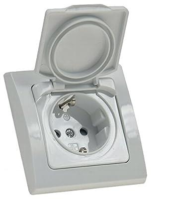 Steckdose IP44 mit Klappdeckel gegen Staub und Spritzwasser Einbau D ...
