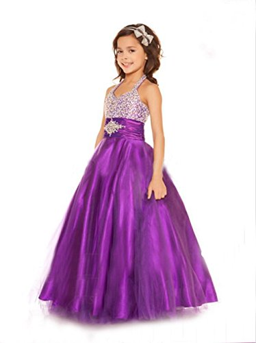 OSEPE Girl's Hanging Neck Beaded Ballgown Pageant Stage Dance Wear Princess Dress Purple Size5 (Purple Masquerade Dresses)