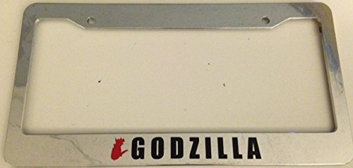 Godzilla with Silhouette - Automotive Chrome with Red License Plate Frame - Gtr Jdm Racing (Godzilla License Plate Frame compare prices)