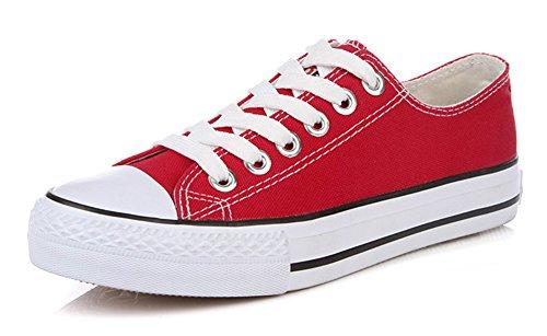 Sfnld Femmes Mode Coupe Basse Lacets Espadrilles Chaussures De Toile Rouge