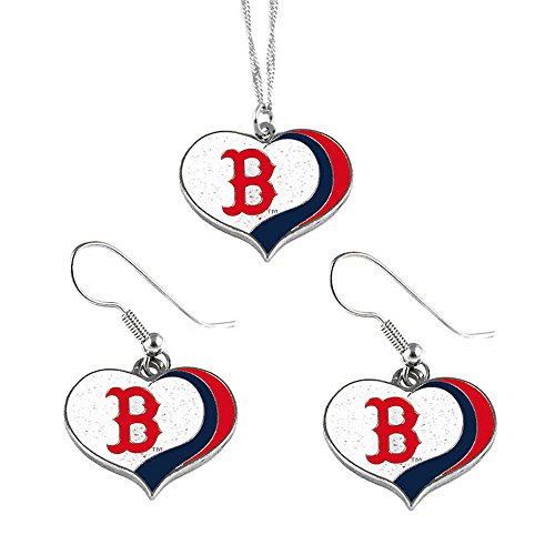 aminco Boston Red Sox MLB Sports Team Logo Charm Gift Glitter Heart Necklace and Earring Set