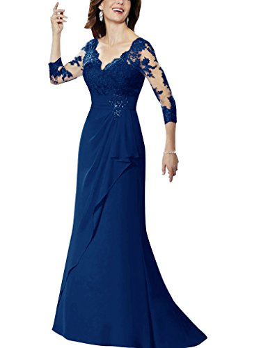 H.S.D Applique Beads Sheer V-Neck Mother Of The Bride Dresses Chiffon Prom Gowns
