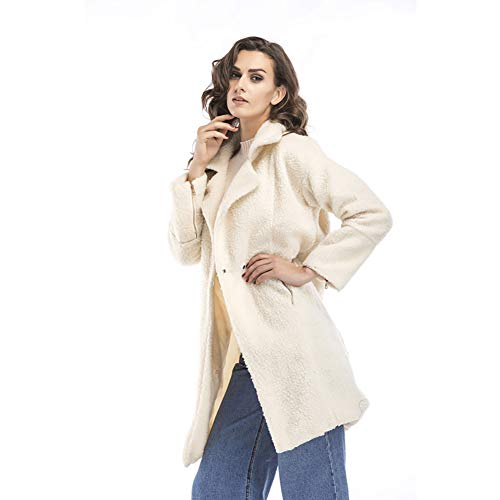 manteau long blanc et en cardigan laine Femme blanc Sweatshirt chaud tt W avec revers IwA4tt