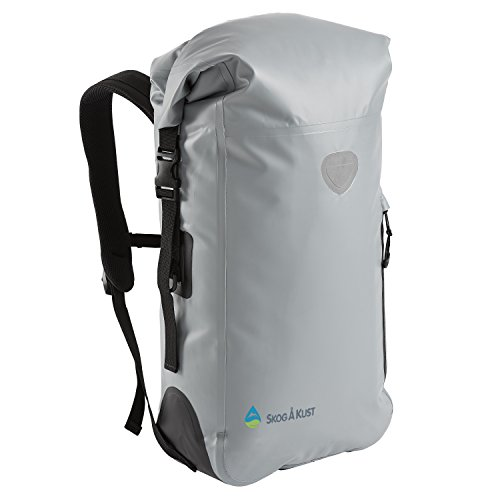 Såk Gear BackSak Waterproof Backpack: 500D PVC, 35L, Grey with Welded Seams, Reflective Trim, Padded Back Support, Cushioned Adjustable Straps, Inner Zip Pocket & Splash Proof Outer Zip (Adjustable Backpack)
